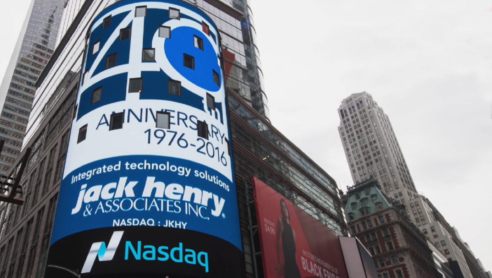 NASDAQ with JHA 40 Years Logo